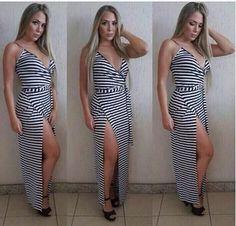Vestido Longo Fenda Listrado - Look Store