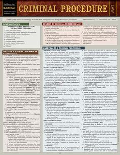 Criminal Procedure Laminated Study Guide - BarCharts Publishing Inc makers of QuickStudy Criminal Justice Major, Criminal Law, Criminal Justice System, Law Notes, Police Officer Requirements, Criminal Procedure, Law Enforcement Jobs, Exams Tips, Constitutional Law