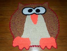 Tapetes Criativos: TAPETE CORUJA Cute crochet owl rug!