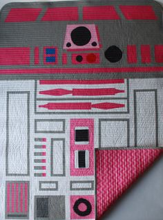 Star Wars baby quilt/R2KT baby quilthot pink R2D2 by BedHogShop