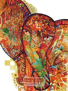 Abstract elephant cross stitch kit