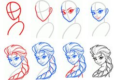 Super Ideas For Disney Art Sketches Doodles How To Draw Easy Disney Drawings, Cartoon Drawings, Drawing Sketches, Sketching, Draw Disney, Disney Art, How To Draw Elsa, Disney Drawing Tutorial, Disney Princess Sketches