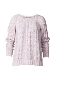 """""""Bayard Knit SS14"""" has a cable knitted front and wide arms with flat knitted cuffs. Raw edges on sleeve endings and around neckline. Ribbed bottom hem. This style has a longer back than the front."""