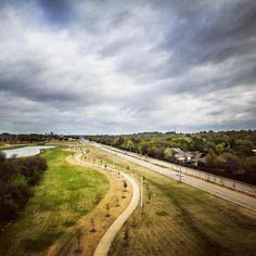 Straight road meandering path. #landscape #cloudscape #drone #denton