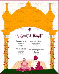 This invite is perfect for a Sikh Wedding . The invite depicts Anand Karaj Ceremony. Can be customized in different colors or a video format too. Wedding Invitation Maker, Create Wedding Invitations, Marriage Invitation Card, Indian Wedding Invitation Cards, Marriage Cards, Wedding Invitation Card Design, Indian Invitations, Invites, Sikh Wedding Decor