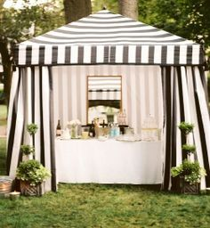 Outdoor Bar - A black-and-white-striped pavilion at an outdoor dinner party Outdoor Dinner Parties, Outdoor Entertaining, Decoration Inspiration, Decor Ideas, Derby Party, Party Entertainment, Hollywood Regency, Event Decor, Party Planning
