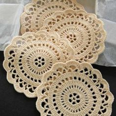 Crocheted Coasters, Set of 4 in Ecru or Cream - no pattern–but could probably figure out - Free Crochet Doily Patterns, Crochet Placemats, Crochet Coaster Pattern, Crochet Motifs, Crochet Mandala, Crochet Doilies, Crochet Flowers, Crochet Stitches, Picot Crochet