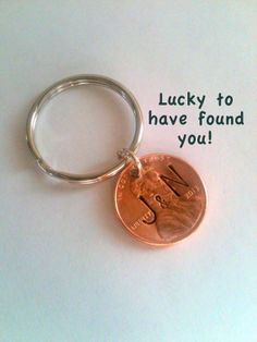 Personalized Couple Keychain, Lucky Penny, Initial on Specific Year Key Chain, Key Ring for Husband, Wife, Boyfriend, Girlfriend, Found You!