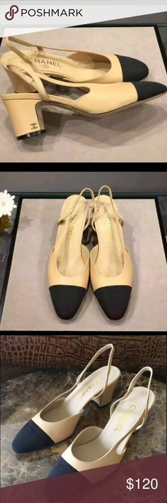 Coco Ch Goatskin Beige Cap Toe Slingbacks Price reflect authenticity. These shoes are new in box. They are marked size 41 but I am selling them as size 40 because they genuinely run a size small. They will fit an American size 8.5 or 9 perfectly. I purchased this from an online store and it comes with dust bag, authenticity card, receipt, and box. They are really a great copy of the real thing. I hope to find them a good home. CHANEL Shoes Heels
