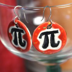 Pi Ceramic Earrings in Red by surly on Etsy, $22.00