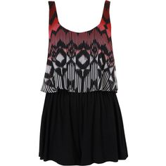 Petite Aztec Playsuit ($40) ❤ liked on Polyvore featuring jumpsuits, rompers, dresses, playsuits, vestidos, black, aztec romper and playsuit romper