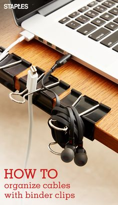 Medium Binder Clips, Medium, Black, Dealing with cable spaghetti can eat up precious time. Binder clips are an easy, affordable way to keep computer cords under control. From chargers Office Organization At Work, Cord Organization, Office Setup, Diy Computer Desk, Diy Desk, Computer Tips, Binder Clips, Ideas Habitaciones, Everyday Hacks
