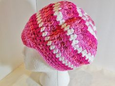 """OOAK Crocheted Newsboy Slouchy Beanie """"Scrap"""" Hat Adult Pink Specialty Large Head Thick Hair"""