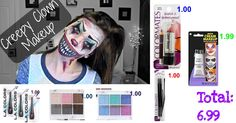 "easy DIY creepy clown costume for Halloween. Finish off with clown suit or tutu and suspenders. Everything but the face paint can be bought at dollartree. To see the video on youtube type in ""creepy clown makeup""."