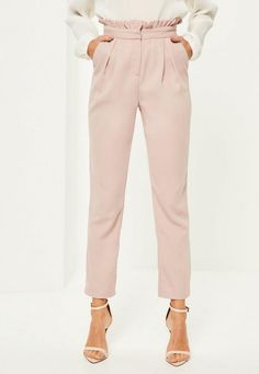 These blush paperbag waist cigarette pants though