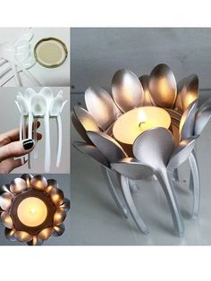 Upcycling ideas: candle holder from spoon .- Upcycling-Ideen: Kerzenhalter aus Löffel … Upcycling ideas: candle holder from spoon …, # candle holder - Upcycled Crafts, Diy Home Crafts, Diy Arts And Crafts, Diy Home Decor, Plastic Spoon Crafts, Plastic Spoons, Art Diy, Diwali Decorations, Diy Candles