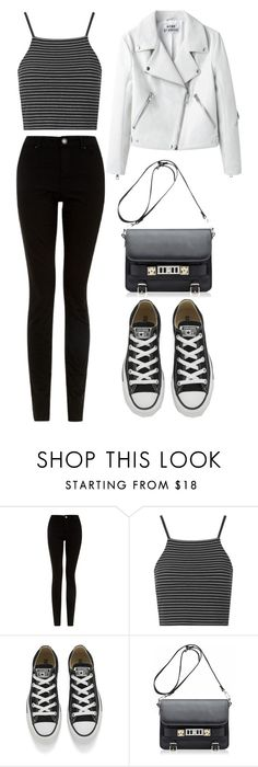 """""""B&W."""" by denulina ❤ liked on Polyvore featuring Topshop, Converse, Proenza Schouler, Summer, casual and blackandwhite"""