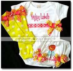 Baby Girl First Birthday Outfit Lollipop Baby Bloomers by Crybabyz, $56.95