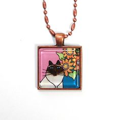 Himalayan Cat Jewelry/ Seal Point Himmy Pendant by SusanFayePetProjects, $18.00