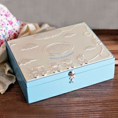 Blue and Silver Baby Boys Keepsake Box Gift