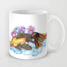 #Koi and #Lotus - Hand drawn #Mug by #Heaven7 - $15.00 #society6