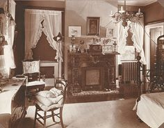 """Photo of the bedroom of Ella Jean """"Jennie"""" (Wilson) (Lindsey) Downey at """"Ivyhurst."""" Ivyhurst was the home of Robinson Franklin Downey (1849-1923) and his wife, Ella Jean """"Jennie"""" (Wilson) (Lindsey) Downey (1860-1934)"""
