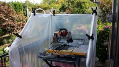 Contain your messy tile saw spray with a DIY wet saw tent. New wet saw shacks… Tile Saw, Water Sources, Room Tiles, Diy Flooring, Wet Rooms, Rocks And Gems, Tent, Home Improvement, Mosaic