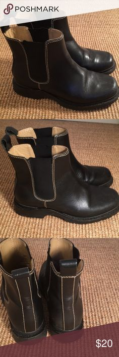 LLBean leather shirt boots Size 6 M , made in Brazil , leather with stretch on side. Pull boots. Clean out closet, don't need these. Good condition, side  elastic band a little stretchy on picture. Not significant! L.L. Bean Shoes Ankle Boots & Booties