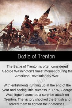 The Battle of Trenton was Washington's defining moment in His victory at Trenton raised American morale and forced the British to remove themselves from much of New Jersey. Revolutionary War Battles, American Revolutionary War, Battle Of Trenton, American Independence, Cause And Effect, Historical Art, Freedom Of Speech, Military Art, George Washington