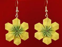 pendientes de papel. Flor de Fujimoto