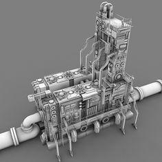 Sci Fi Power Relay Station 3D Obj - 3D Model