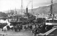 Bergen Norway 1910 fine steamers and busy quays