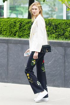 Karlie Kloss Just Pulled Off Patterned Floral Pants in the Chicest Way via @WhoWhatWear