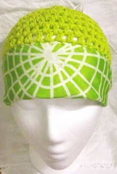 lime green bandanna crochet hat