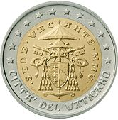 Detailed information and high resolution images of Vatican 2 euros 2005 . Insignia of the Apostolic Chamber and the coat of arms of the Camerlengo of the Holy Roman Church Sede vacante is an expression, used in the Canon Law of the Roman Catholic Church,. Euro Währung, Euro Coins, Coin Shop, Commemorative Coins, World Coins, European History, Coin Collecting, Coat Of Arms, Stamp