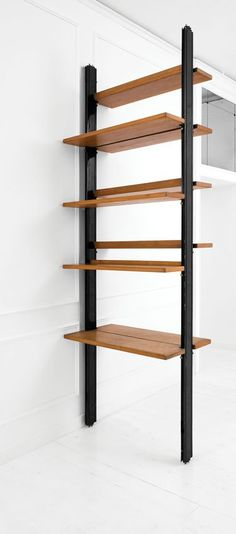 Osvaldo Borsani; Unique Enameled Metal and Ash Shelves by Tecno, c1960.