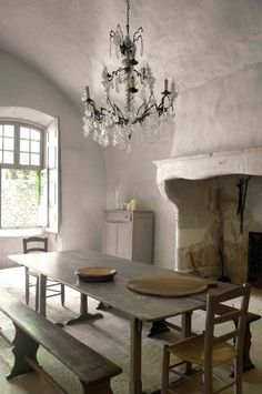 fireplace, chandelier, bench and table - lovely