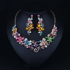 Fashion Multi-Colored Butterfly Crystal Necklace and by vinythomas