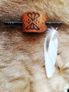 MADE TO ORDER   Tribal handmade leather hair bun dread wrap accessory carved wood hair stick with inlay