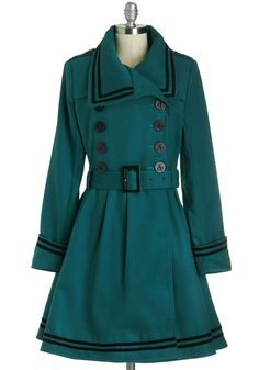 A Welcomed Moment Coat in Teal - Long, Green, Black, Solid, Buttons, Pockets, Trim, Belted, Vintage Inspired, 40s, Double Breasted, Long Sleeve, Fall, Winter, Variation