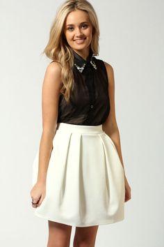 Emma Exaggerated Lantern Shape Scuba Skirt @ BooHoo, £15