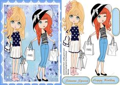 Paris Shopping Trip by Ceredwyn Macrae A lovely card with girls on a hopping trip to Paris as two greeting tags and a blank one Paris Shopping, Printable Crafts, Quick Cards, Tween, Paper Dolls, Girl Birthday, Decoupage, Knitting Patterns, Card Making