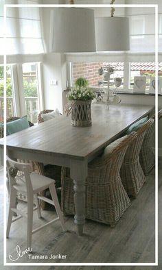 Dining room by Tamara Jonker  Eetkamer # rattan # landelijk # mint # home inspirations & deco # cozy living