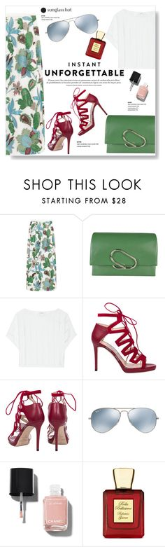 """Shades of You: Sunglass Hut Contest Entry"" by viola279 ❤ liked on Polyvore featuring Tory Burch, 3.1 Phillip Lim, Milly, Jimmy Choo, Ray-Ban, Chanel and Bella Bellissima"