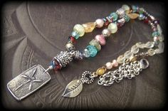 Dragonfly, Gypsy, Cottage Chic, Urban, Vintage, Pearls, Gemstone, Glass, Flowers, Recycled, Beaded Necklace