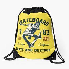 Skate And Destroy, Sport Tennis, Vintage T-shirts, Skate Park, Designs, Drawstring Backpack, San, Backpacks, Sports