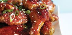 Balsamic Honey Chicken Wings Recipe: balsamic vinegar, honey, shoyu, lemon juice, allspice, cayenne, green onion, and sesame seeds