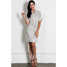 Casual Shirt Dress Super cute and casual. 97% cotton. 3% spandex. Pocket trim. Adjustable waist. Roll-tab sleeve. Dresses