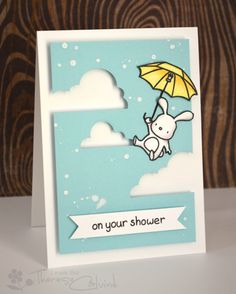 Lostinpaper - Mama elephant Up & Away Baby Shower card - partial die cutting video
