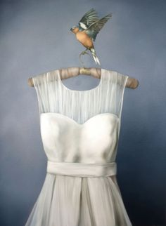Amy Judd, Chaffinch and tulle, Painting